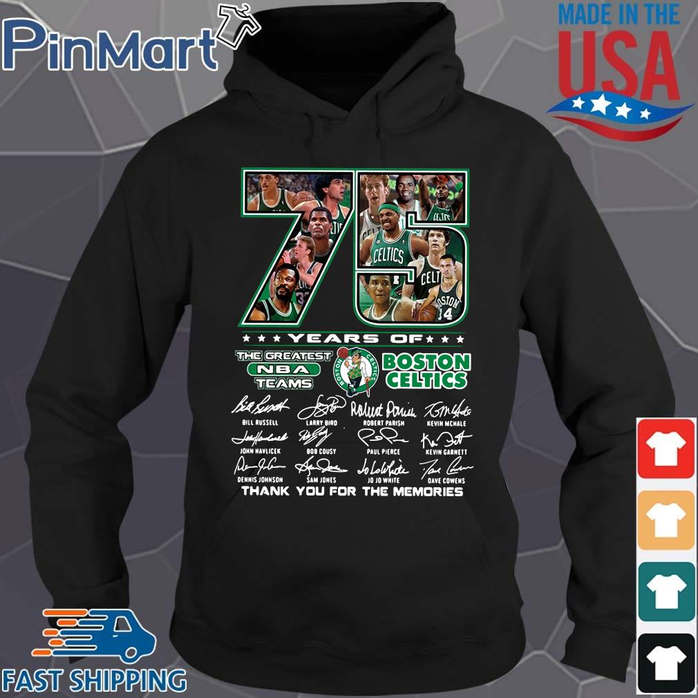 Funny 75 years of Boston Celtics the greatest NBA teams thank you for the memories signatures s Hoodie den
