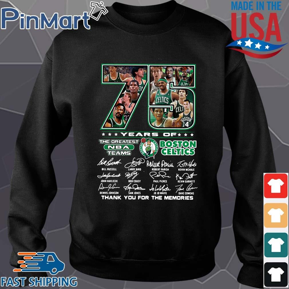 Funny 75 years of Boston Celtics the greatest NBA teams thank you for the memories signatures s Sweater den