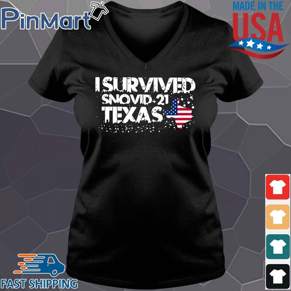 Hot I survived snovid-21 Texas American flag s Vneck den