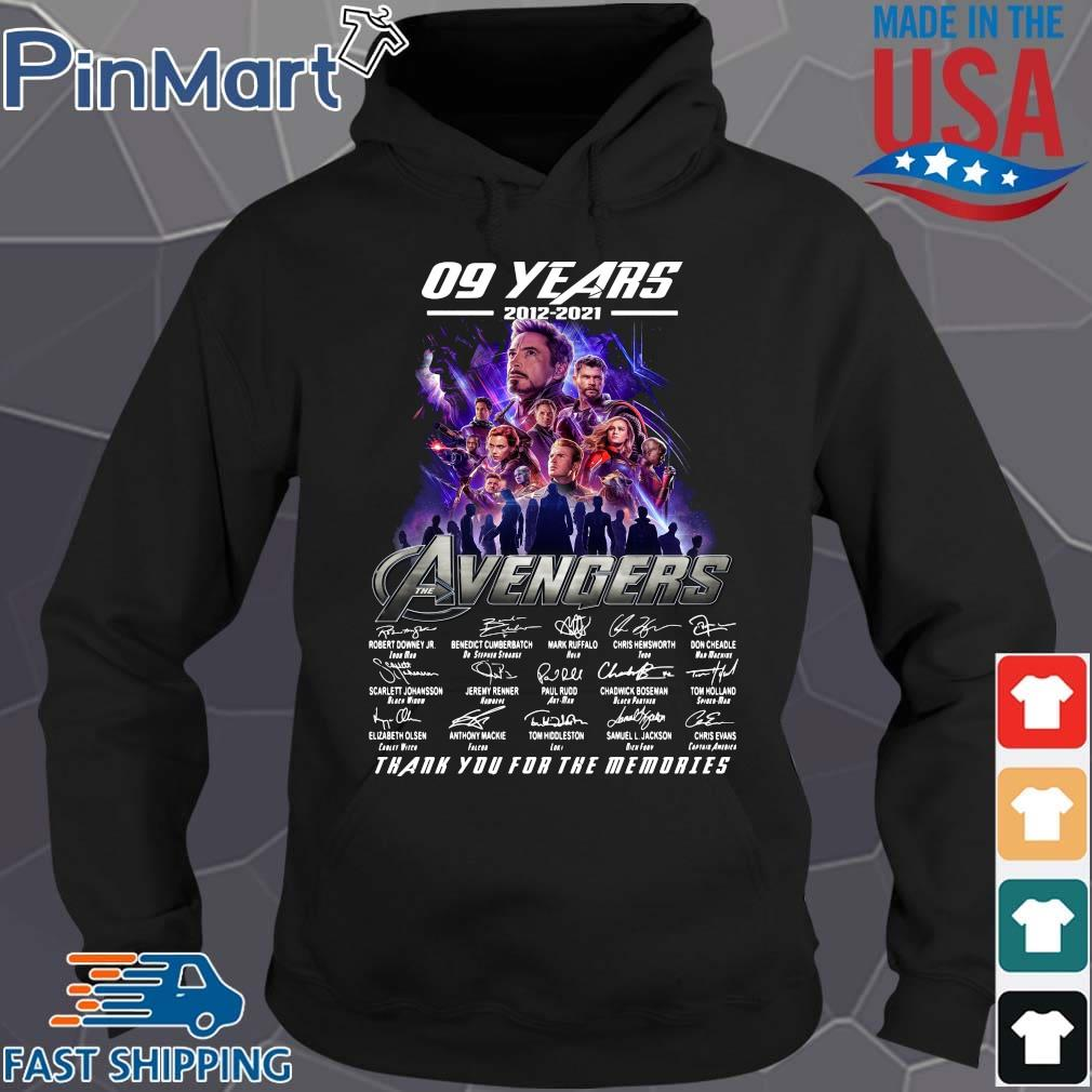 09 years 2012 2021 the Avengers signatures thank you for the memories Hoodie den
