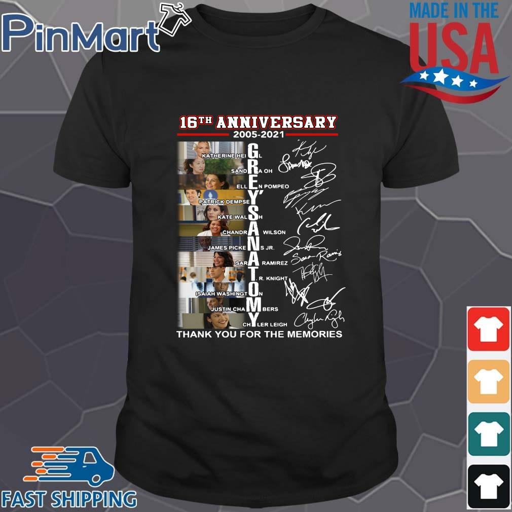 16th anniversary 2005-2021 Grey's Anatomy signatures thank you for the memories shirt