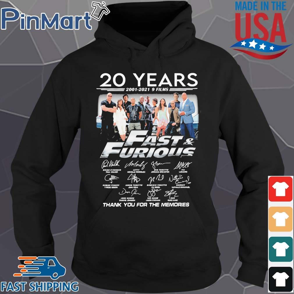 20 years 2001-2021 9 films Fast And Furious thank you for the memories signatures Hoodie den