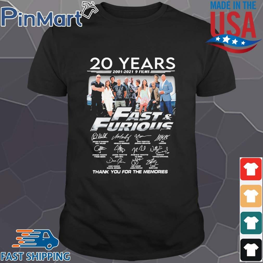 20 years 2001-2021 9 films Fast And Furious thank you for the memories signatures shirt