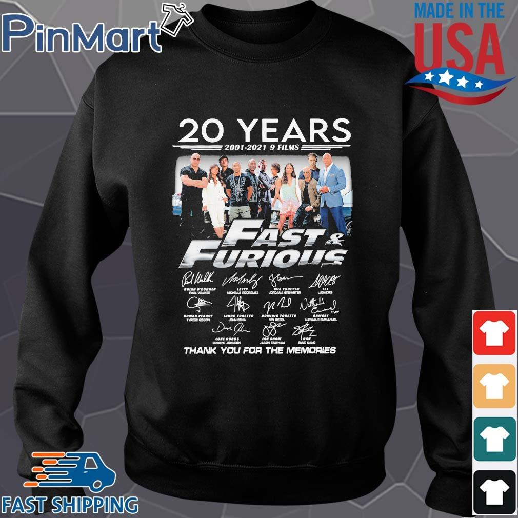 20 years 2001-2021 9 films Fast And Furious thank you for the memories signatures Sweater den