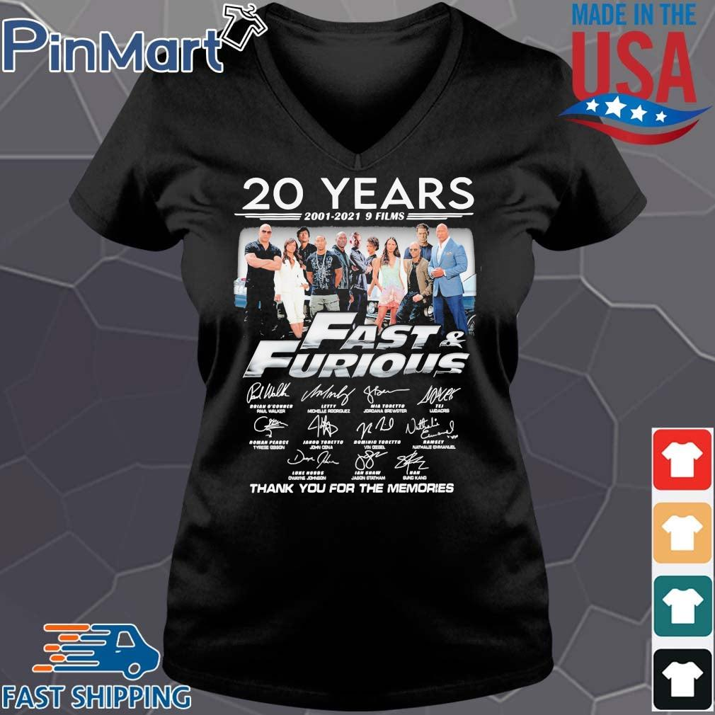 20 years 2001-2021 9 films Fast And Furious thank you for the memories signatures Vneck den