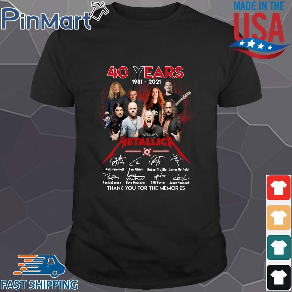40 years 1981-2021 Metallica signatures thank you for the memories shirt