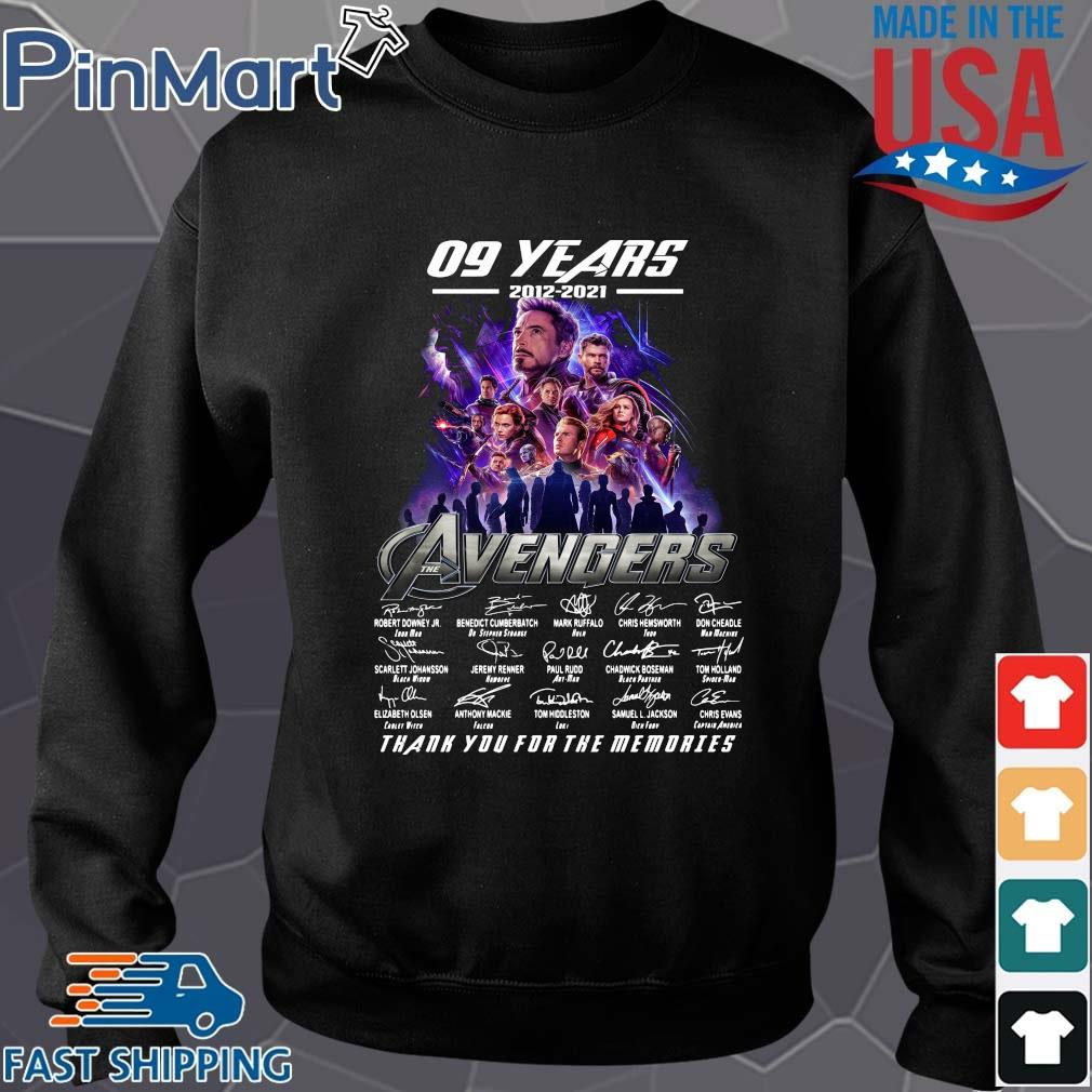Funny 09 years 2012 2021 the Avengers signatures thank you for the memories Sweater den