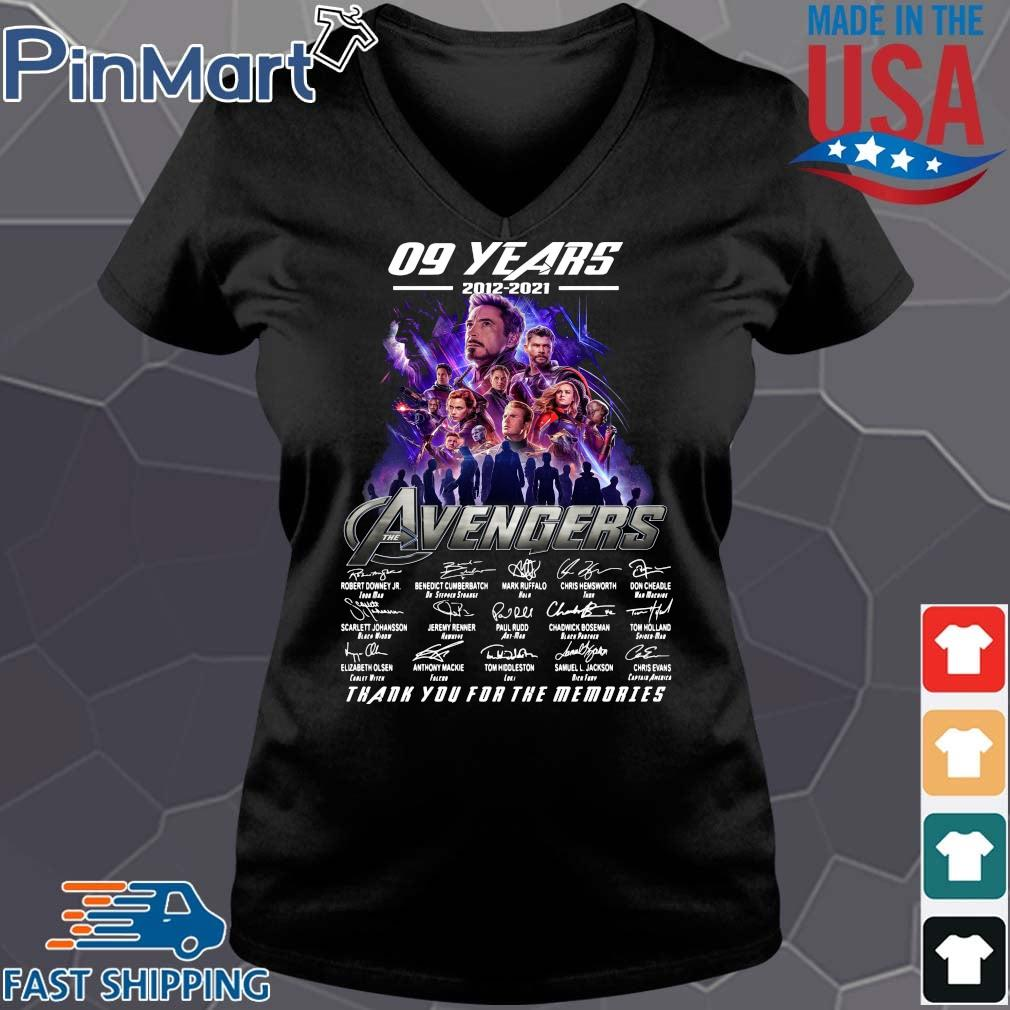 Funny 09 years 2012 2021 the Avengers signatures thank you for the memories Vneck den