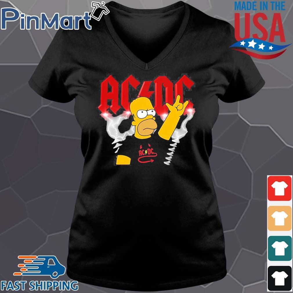 Homer Simpson Rocking Acdc Band Shirt Vneck den