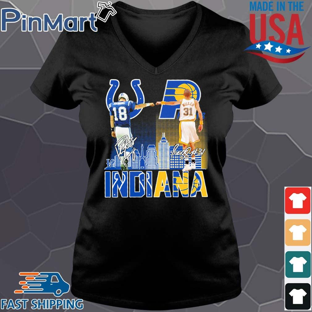 Indianapolis Colts Indiana Pacers Peyton Manning And Reggie Miller Signatures Shirt Vneck den