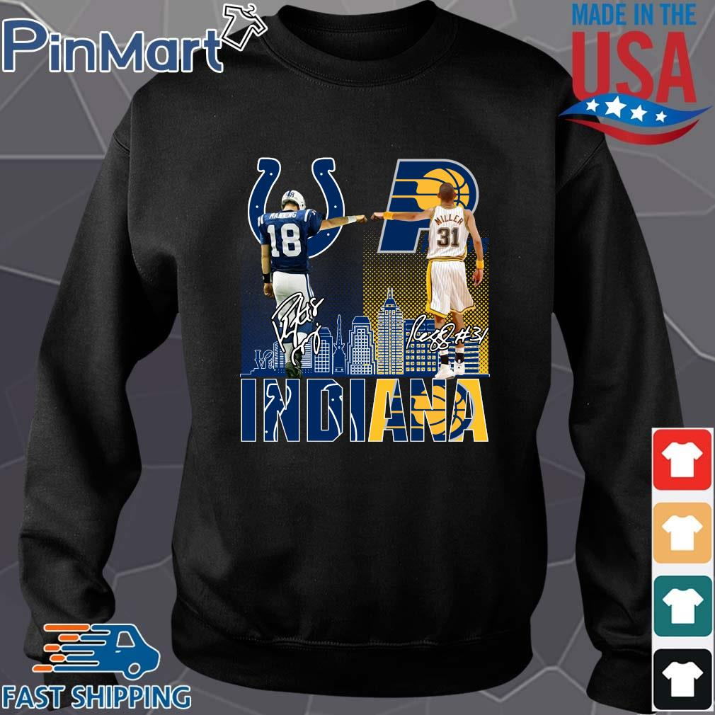 Indianapolis Colts Indiana Pacers Peyton Manning Vs Reggie Miller Signatures Shirt Sweater den