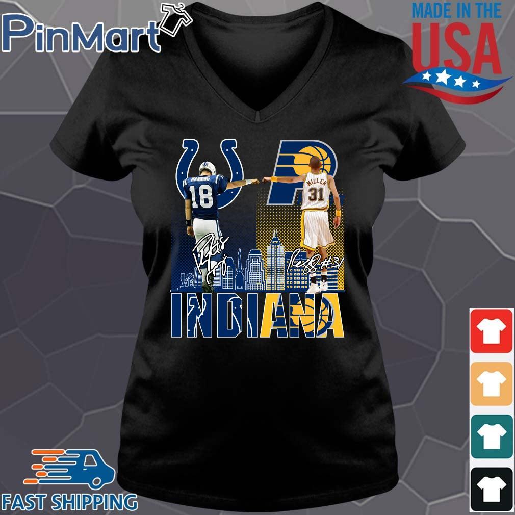 Indianapolis Colts Indiana Pacers Peyton Manning Vs Reggie Miller Signatures Shirt Vneck den