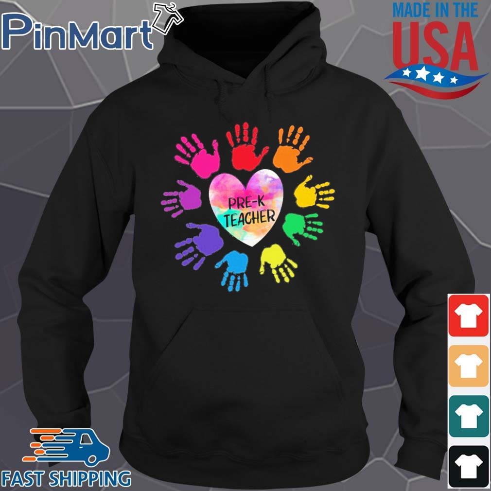 Hands Heart Pre-K Teacher Color Shirt Hoodie den