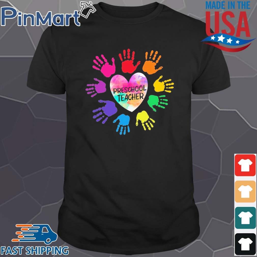 Hands Heart Preschool Teacher Color Shirt