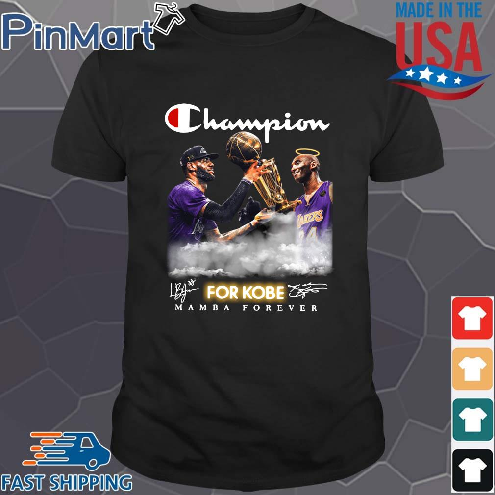 Kobe Bryan and Lebron James Champion for Kobe mamba forever signatures t-shirt