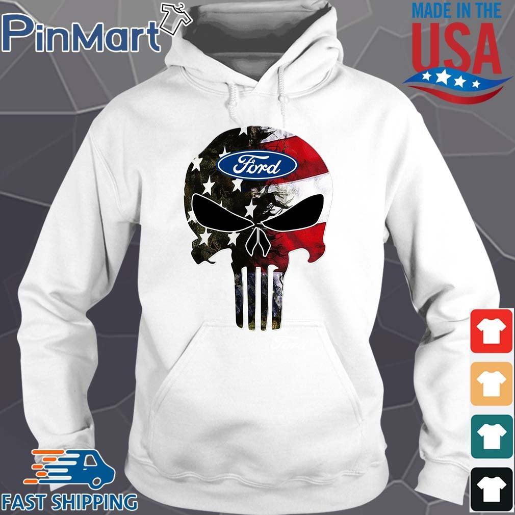 Skull Ford Logo Shirt Hoodie trang