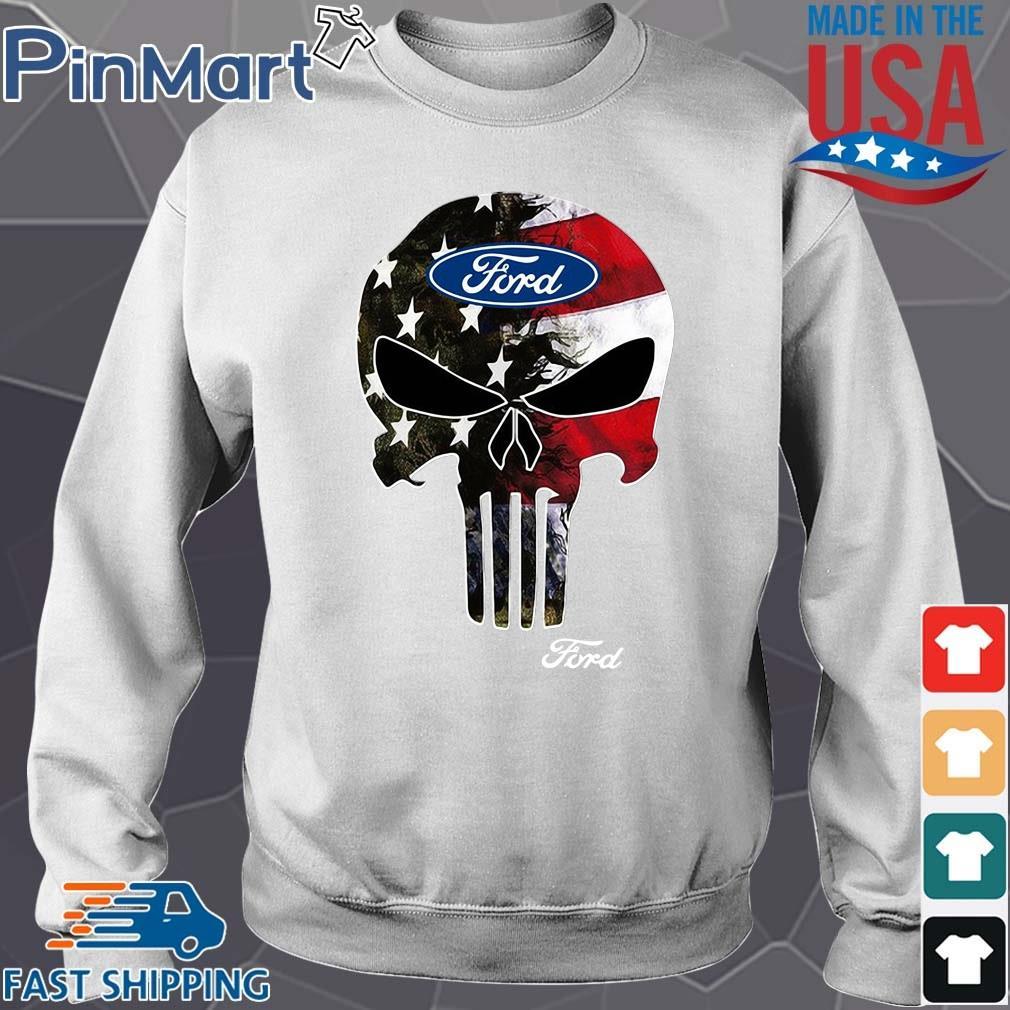Skull Ford Logo Shirt Sweater trang
