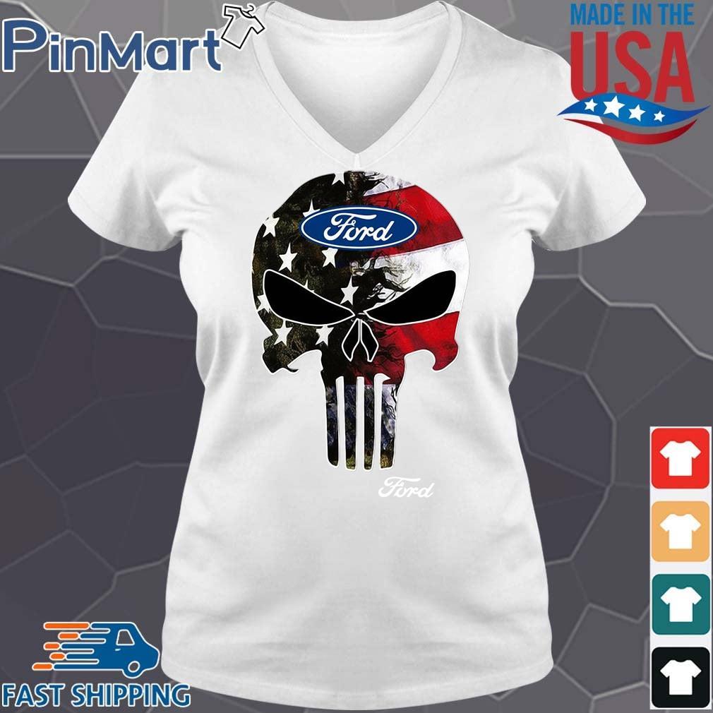Skull Ford Logo Shirt V-neck trang