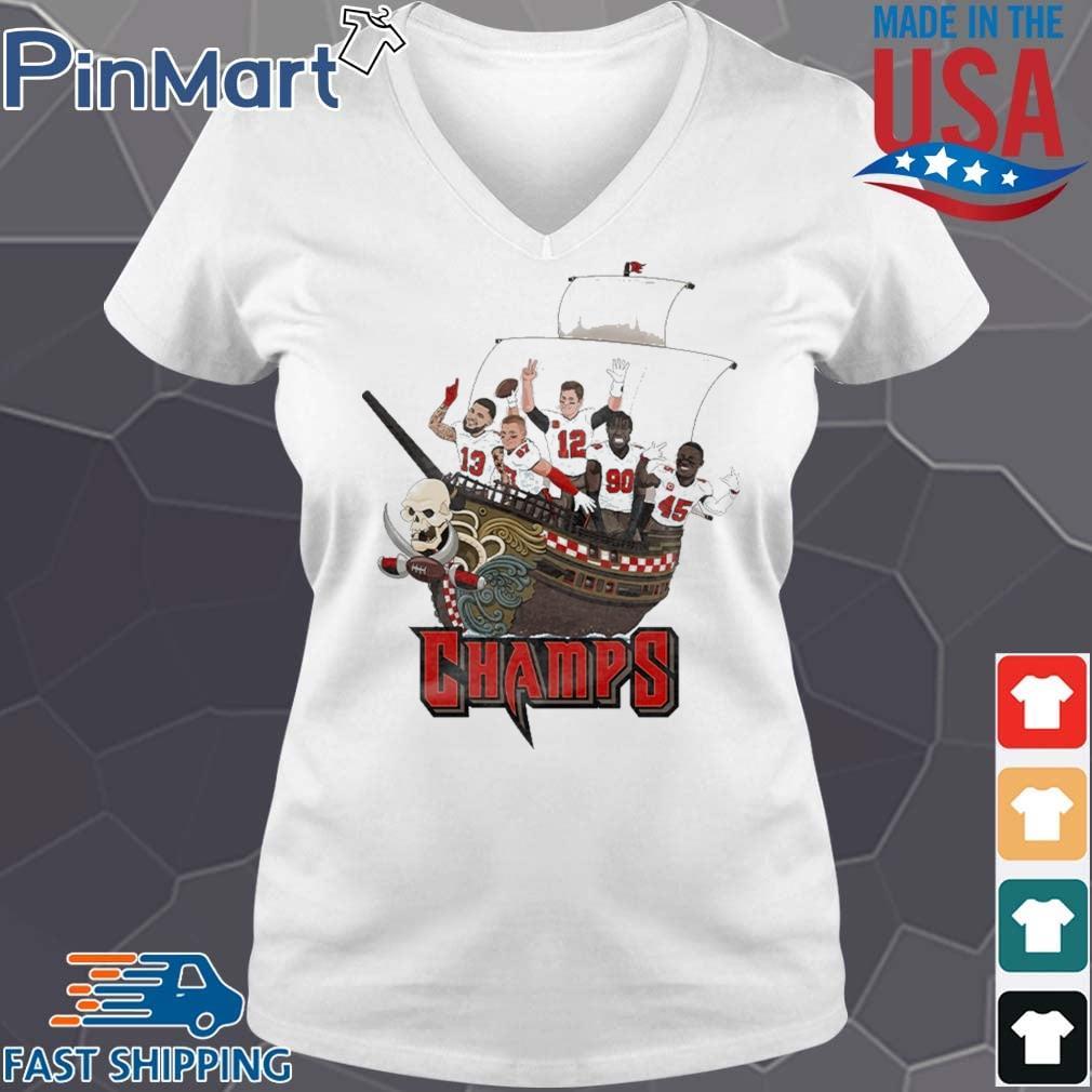 Tampa Bay Buccaneers Team Players Pirates Champs Shirt V-neck trang