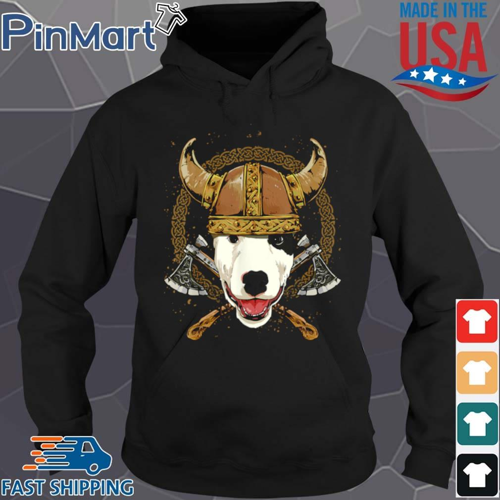 Viking Bull Terrier Dog with Viking Helmet Mjolnir Axes Shirt Hoodie den
