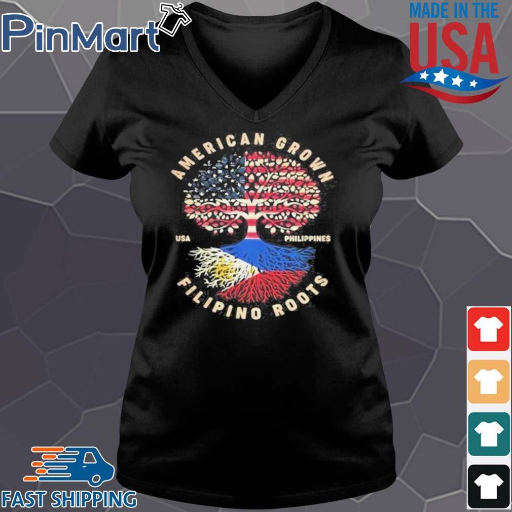 American Grown Filipino Roots Shirt Vneck den