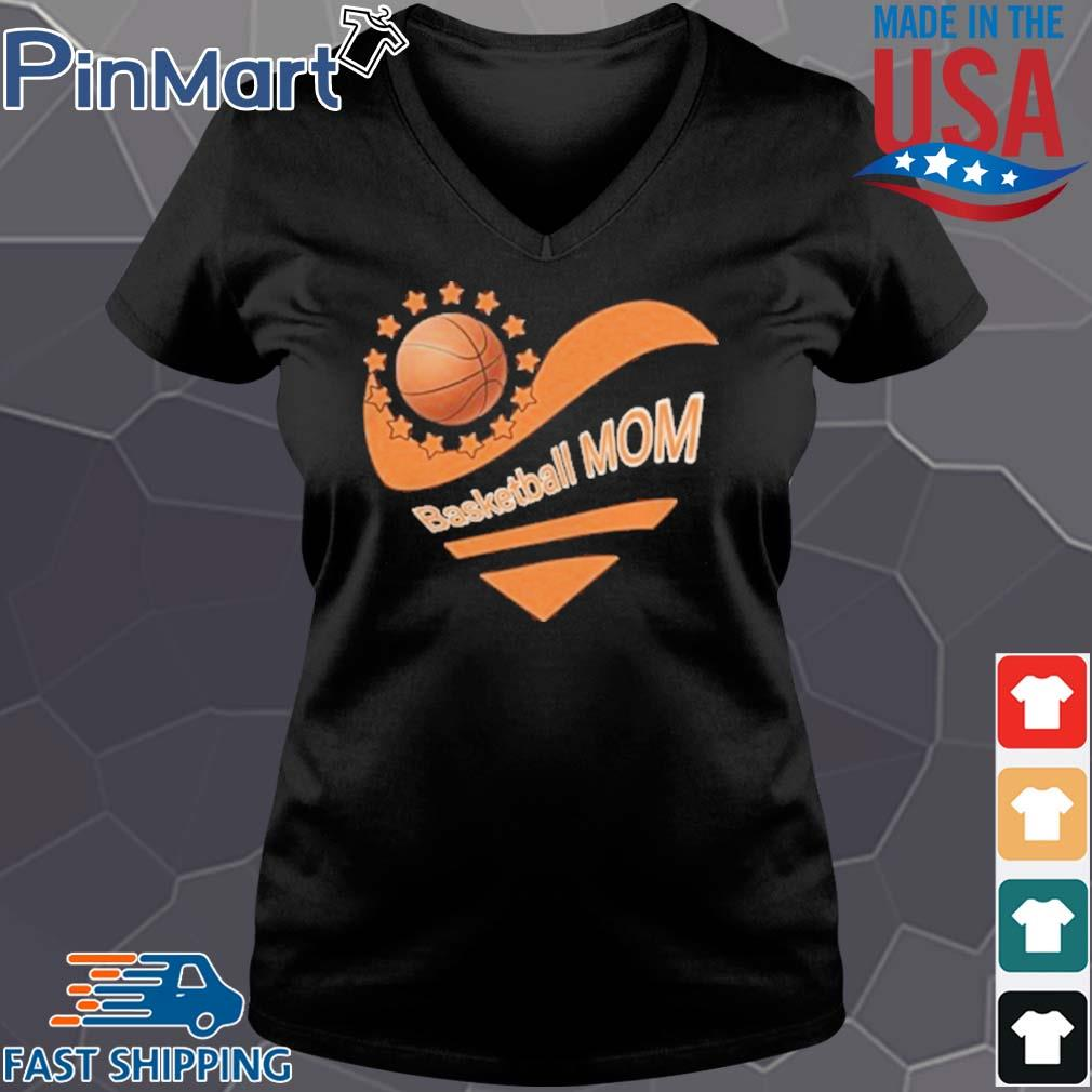 Basketball mom heart american flag independence day s Vneck den