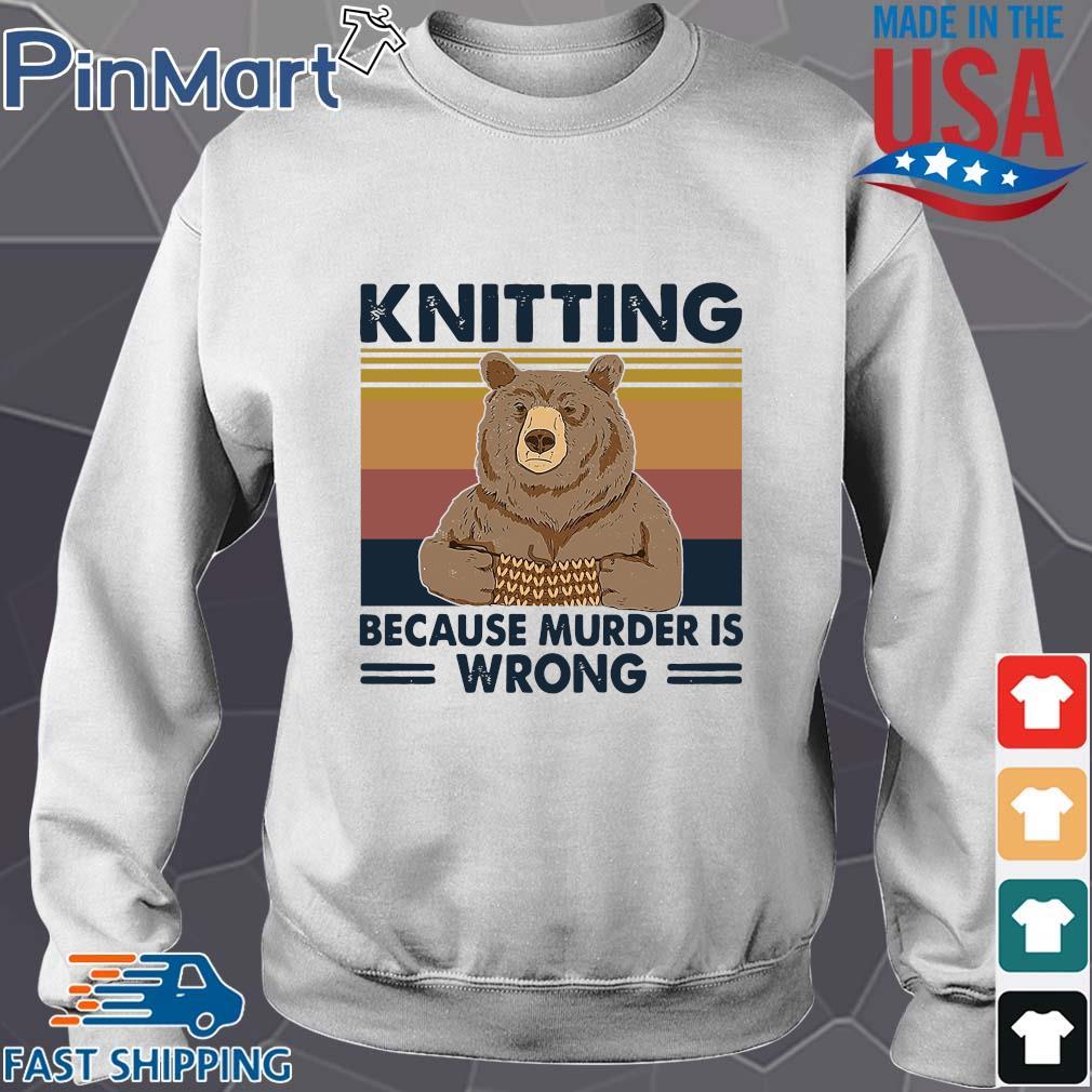Bear knitting because murder is wrong vintage s Sweater trang