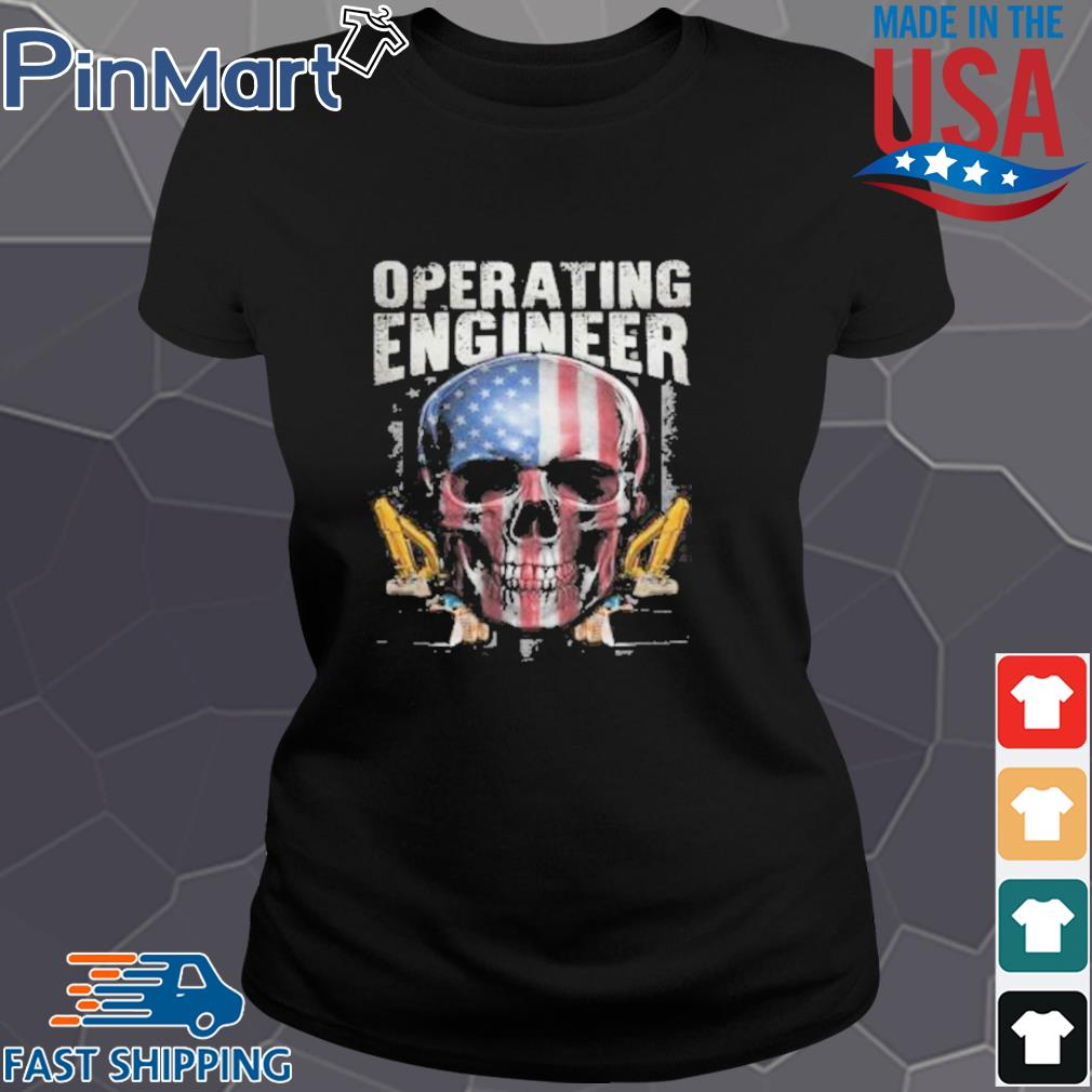 Operating Engineer Skull American Car Draw Shirt Ladies den