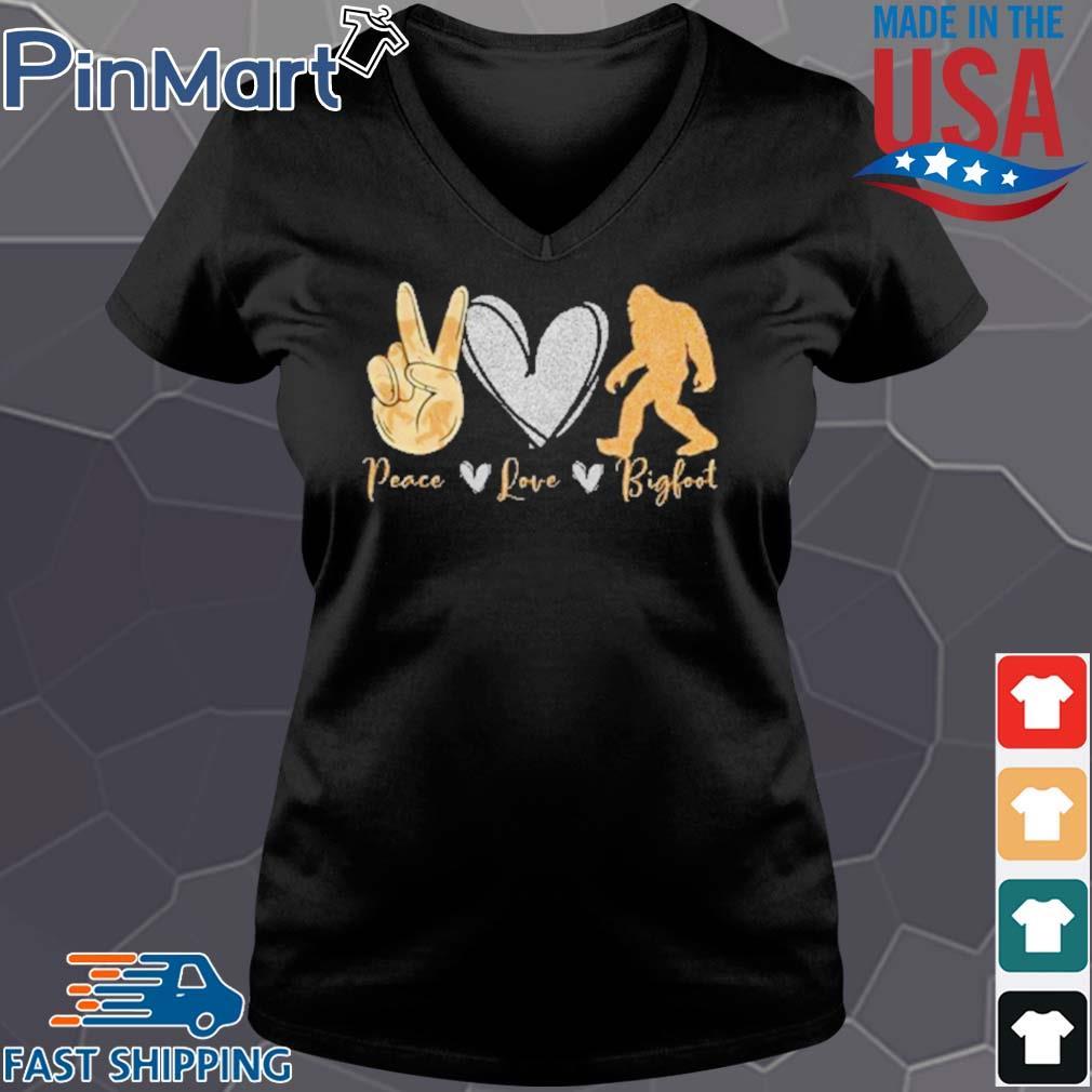 Peace love bigfoot black lives matter s Vneck den