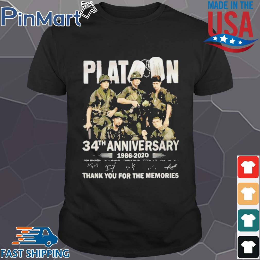 Platoon 34th anniversary 1986 2020 thank you for the memories signatures shirt