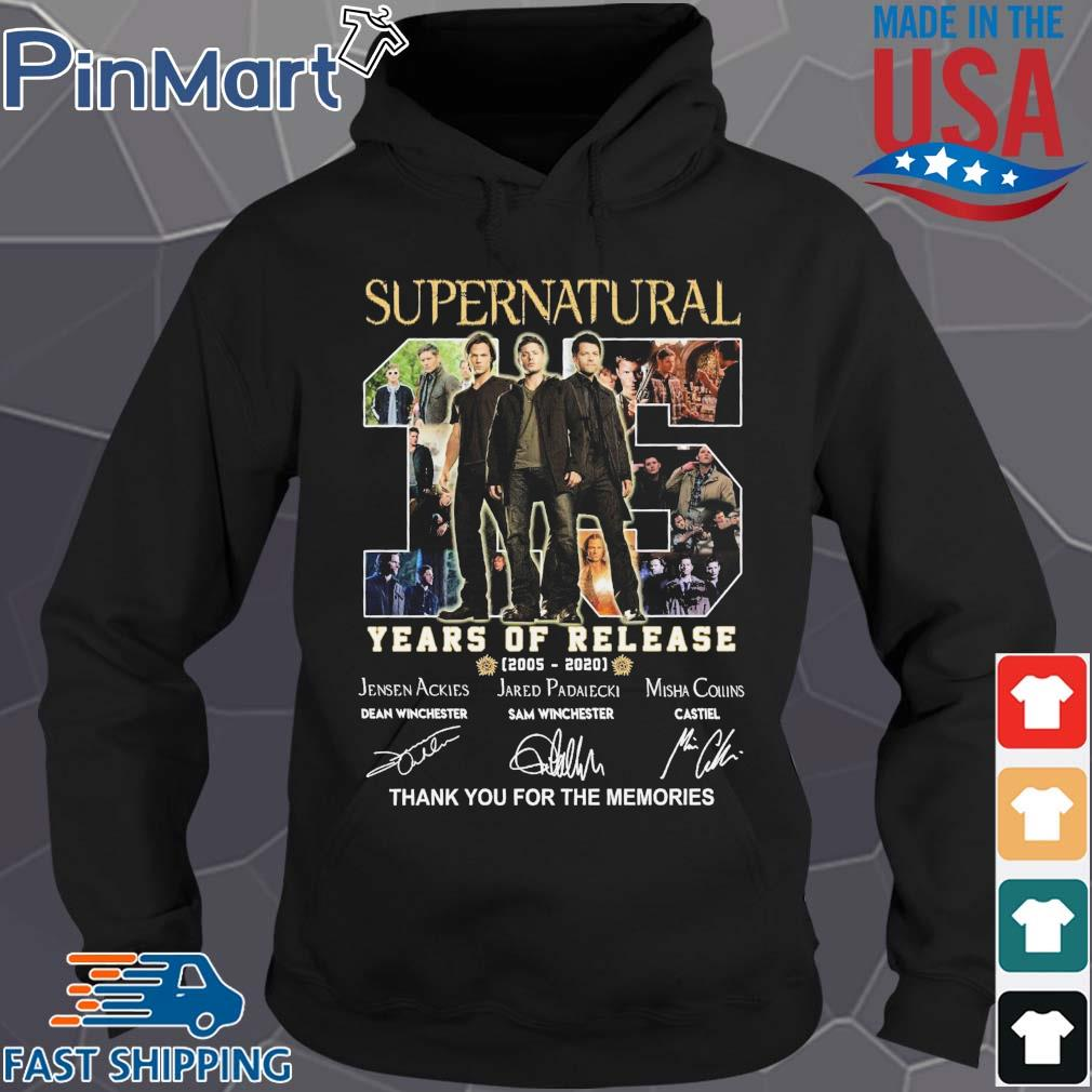 Supernatural 15 years of release 2005 2020 thank you for the memories signatures s Hoodie den