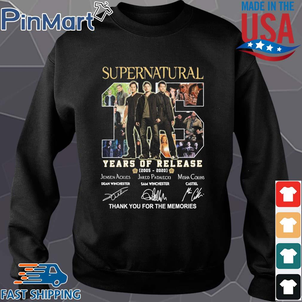 Supernatural 15 years of release 2005 2020 thank you for the memories signatures s Sweater den