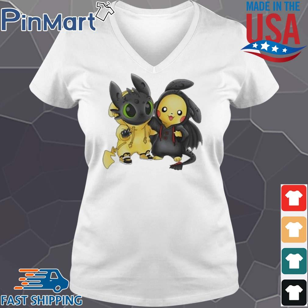 Baby Toothless and Pikachu s V-neck trang
