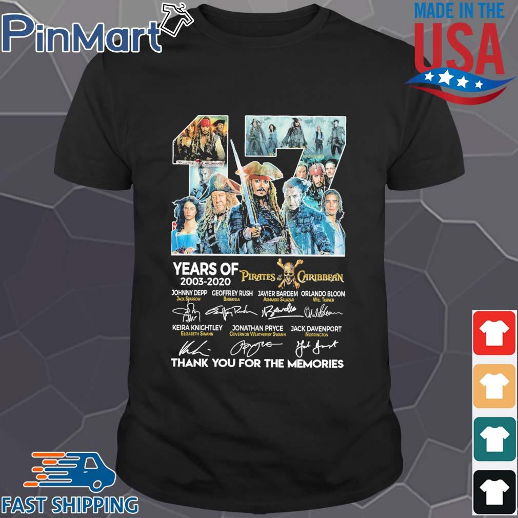 17 years of 2003 2020 Pirates of the Caribbean thank you for the memories signatures shirt