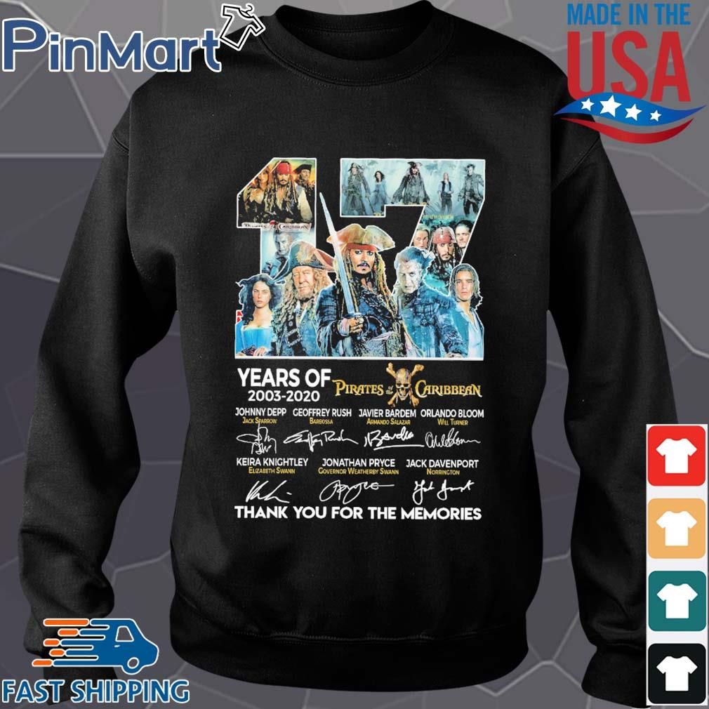 17 years of 2003 2020 Pirates of the Caribbean thank you for the memories signatures s Sweater den