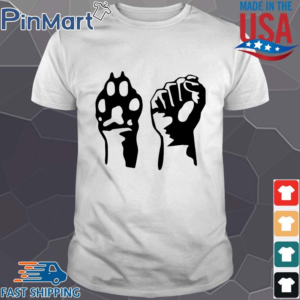 Dog paw human fist animal rights vegan vegetarian shirt