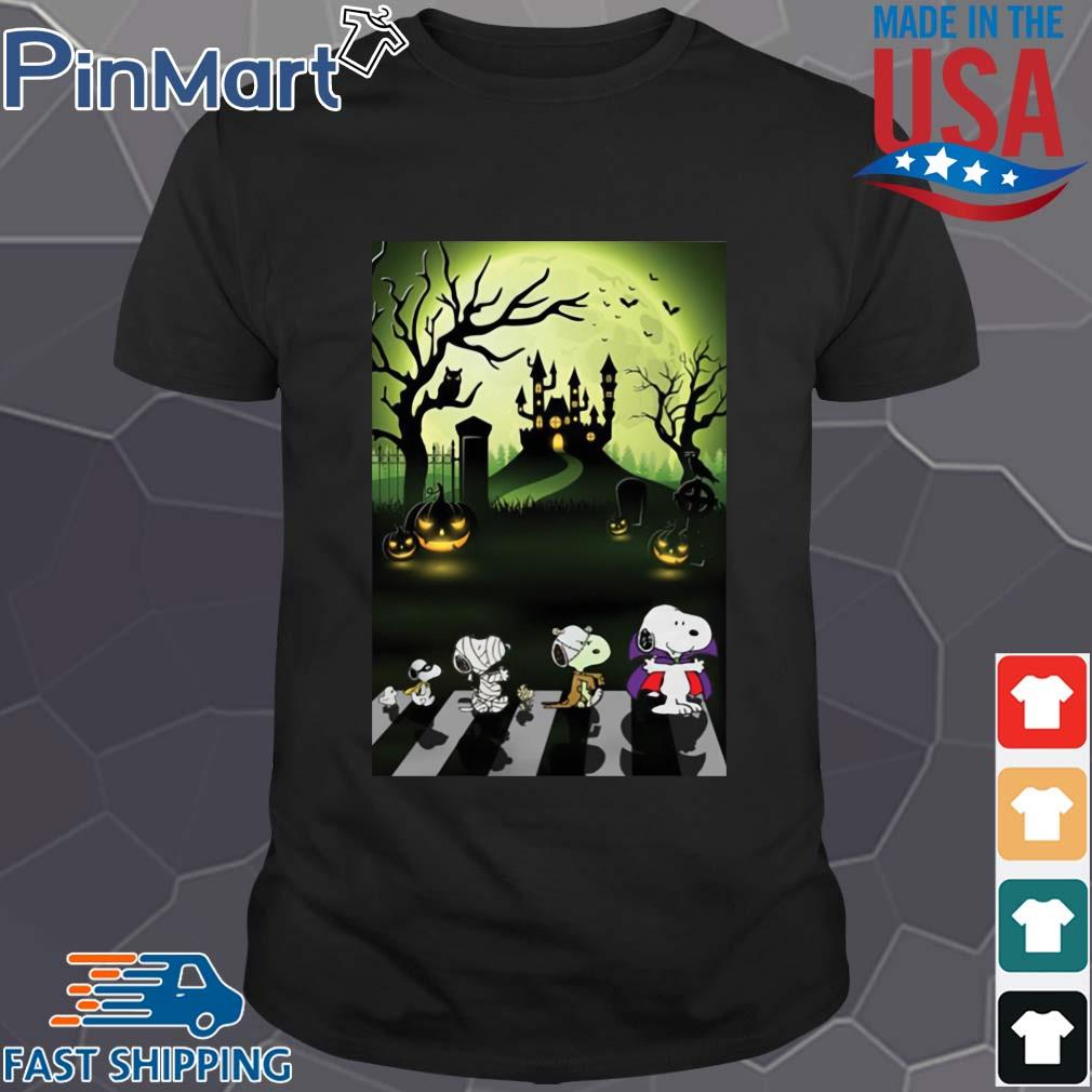 Snoopy abbey road Halloween moon shirt
