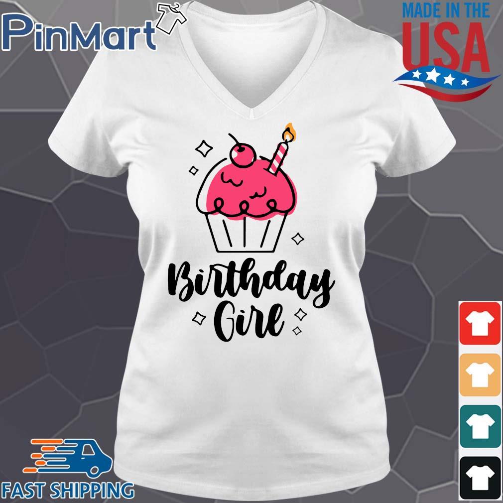 Birthday Queen Cute Cupcake Birthday Shirt V-neck trang